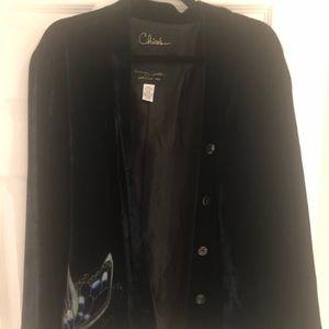 Chico's dark velvet blue jacket